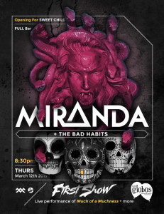 first show, miranda + bad habits, los globos